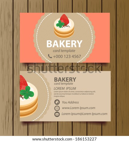 business card template for bakery business. vector illustration.