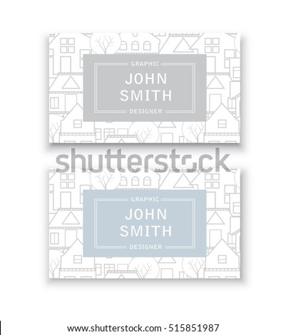 Business card template. For real estate agencies, construction companies and businesses, tourist and urban concept