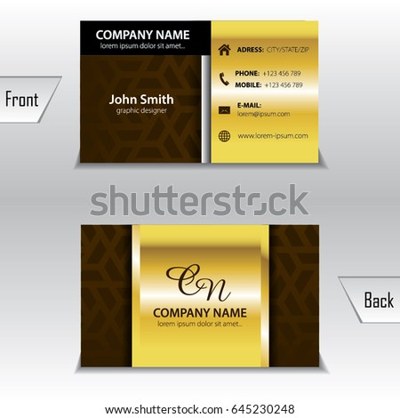 Business card template gold
