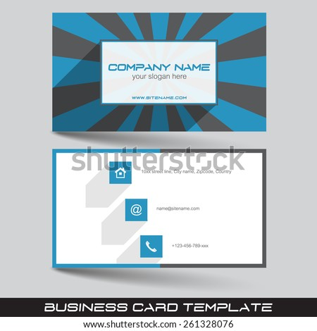 Business card template in flat design with front and back side/vector illustration, design for your personal or business presentation