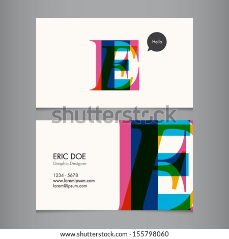 Business card template letter E