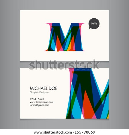 business card template  letter m