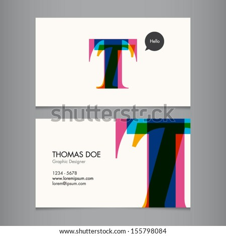 business card template  letter t