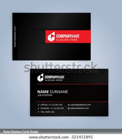 business card template red and