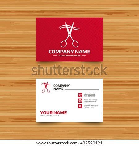 Business card template. Scissors cut hair sign icon. Hairdresser or barbershop symbol. Phone, globe and pointer icons. Visiting card design. Vector