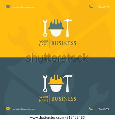 Business card template with construction worker symbol - vector illustration