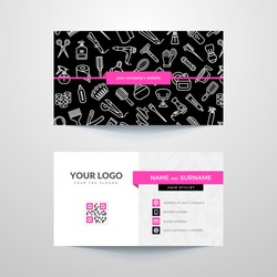 Business card template with hair salon symbols. Hairdresser. Barber.