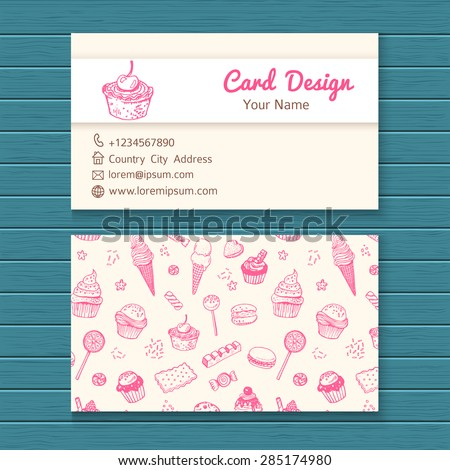Business card template with hand drawn sweets set.