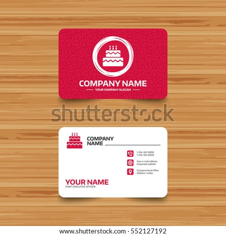 Business card template with texture. Birthday cake sign icon. Cake with burning candles symbol. Phone, web and location icons. Visiting card  Vector
