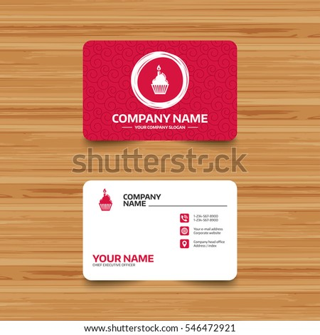 Business card template with texture. Birthday cake sign icon. Cupcake with burning candle symbol. Phone, web and location icons. Visiting card  Vector