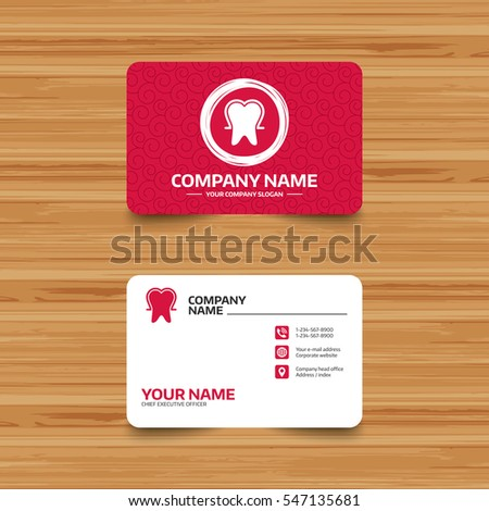 Business card template with texture. Tooth enamel protection sign icon. Dental toothpaste care symbol. Healthy teeth. Phone, web and location icons. Visiting card  Vector