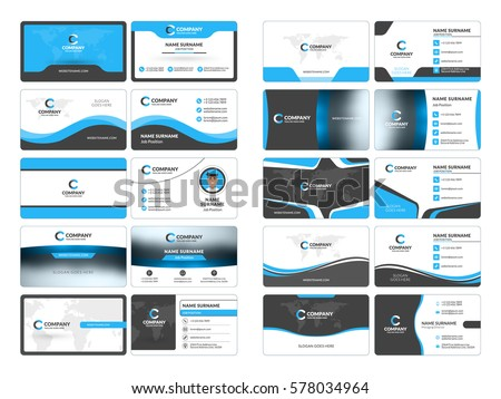 Free business blue name card vector download free vector art business card templates stationery design vector set blue and black colors flat style reheart Images