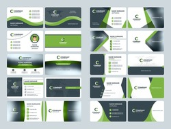 Business card templates. Stationery design vector set. Green and black colors. Flat style vector illustration