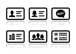 Business card vector icons set