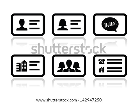 business card icon set vector download free vector art stock