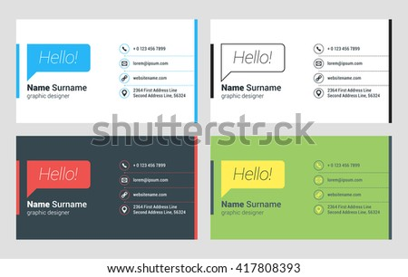 Minimal white business card template vector design illustration business card vector template flat style vector illustration stationery design 4 color combinations reheart Choice Image