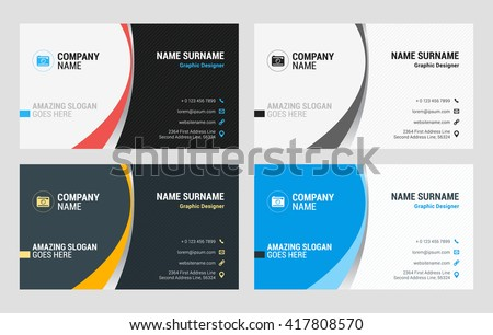 Clean business card for company vector design illustration business card vector template flat style vector illustration stationery design 4 color combinations reheart Gallery