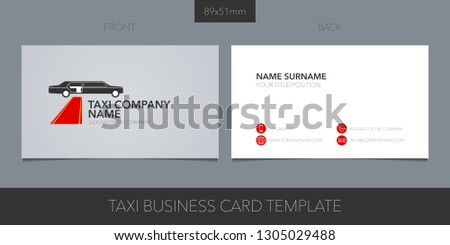 Business card vector template layout design for VIP taxi, limo cab service. Car hire icon with website, contacts, name