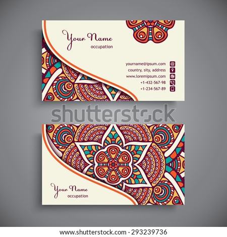 Business Card. Vintage decorative elements. Ornamental floral business cards, oriental pattern, vector illustration.  Islam, Arabic, Indian, turkish, pakistan, chinese, ottoman motifs