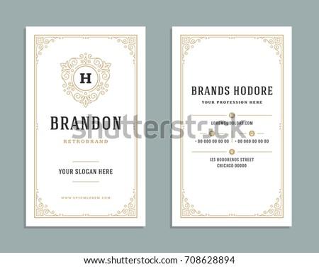 Business card vintage ornament style and luxury logo vector template. Retro elegant flourishes ornamental design.