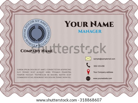 Business card, vintage style. Retro design. Vector illustration.With background.