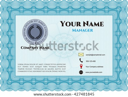 Business card, vintage style. Vector illustration. With guilloche pattern. Retro design.