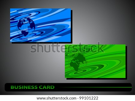 business card with a globe on a colored background