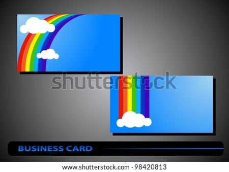 business card with a rainbow on a blue background