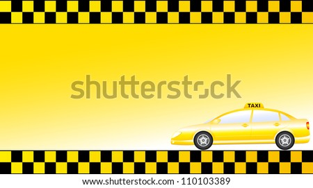 business card with glossy modern taxi car and space for text