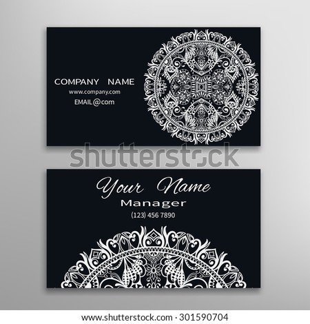 Business card with Mandala ornament, decorative ornate invitation collection. Hand drawn Islam, Arabic, Indian, lace pattern. Black and white collection