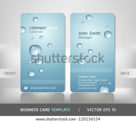 Business Card with water drop. Vector illustration.