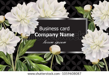 business card with white peony