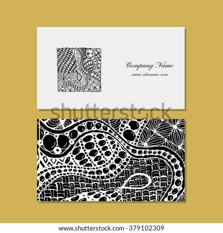Business card, zentangle ornament design