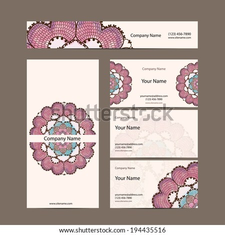 Business cards collection, delicate floral pattern.  Vector background. Card or invitation. Vintage decorative elements. Hand drawn background. Islam, arabic, indian, ottoman motifs.