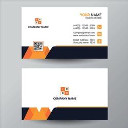 Business cards design, orange business card template . Editable business card vector design. Modern style business card in orange color.