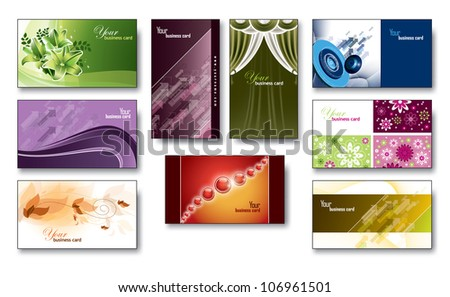 Business Cards / Gift Cards. Set of 9.