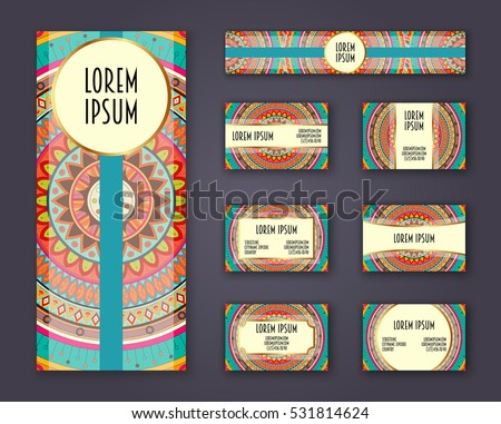 Business cards, invitations and banner template set. Ethnic mandala pattern and ornaments in boho style. Oriental design Layout. Asian, Arabic, Indian, ottoman motifs.