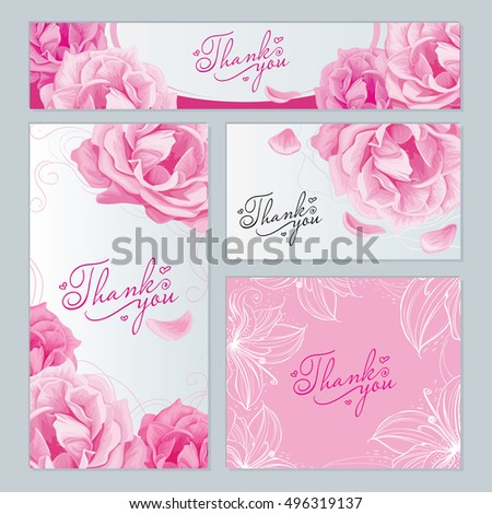 business cards, labels of different sizes with a pattern of flowers roses, lily petal