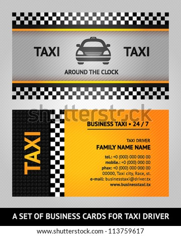 business cards taxi  vector