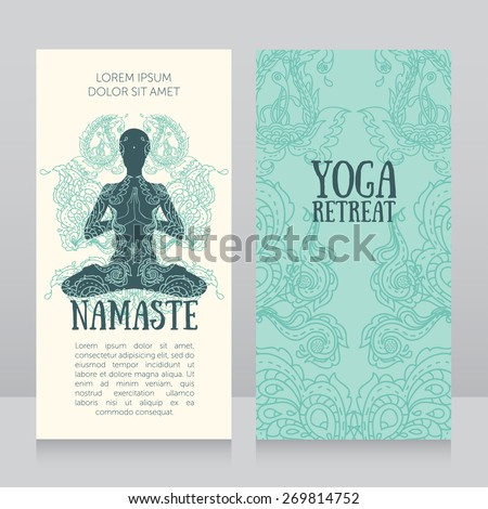business cards template for yoga retreat or yoga studio, can be used for Hinduism religious organization, vector illustration