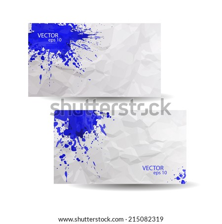Ink splash business card business vector design illustration business cards template with blue abstract spray paint crumpled paper background hand drawn colourmoves
