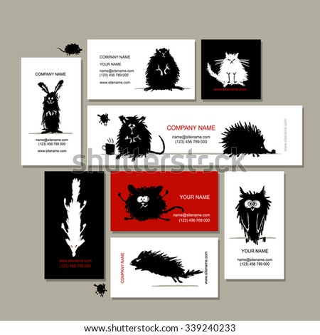 Business cards with animals black sketches for your design. Vector illustration
