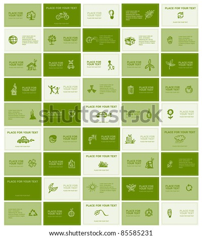 Business cards with ecology icons for your design