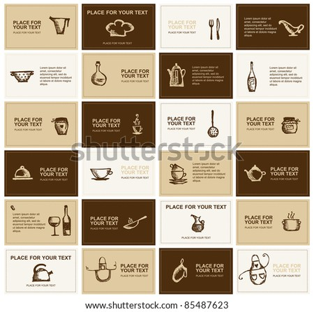 Business cards with kitchen utensils for your design