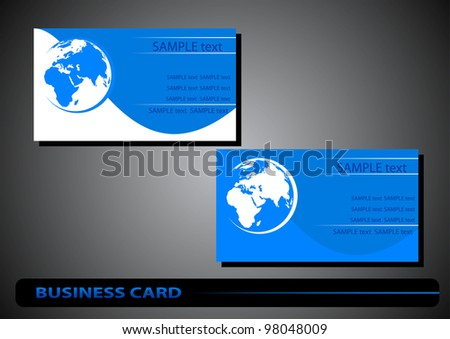 business cards with the silhouette of the globe on a blue background
