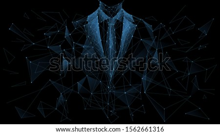 Business career collapse concept. A young man in a suit is breaking into parts isolated on a black background. Low poly wireframe vector illustration. Work failure.