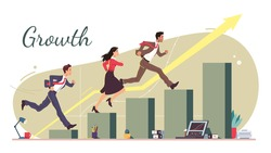 Business career growth concept. Successful business team man, woman running up rising along growing bar chart diagram stairs. Achieving goals, financial success competition flat vector illustration