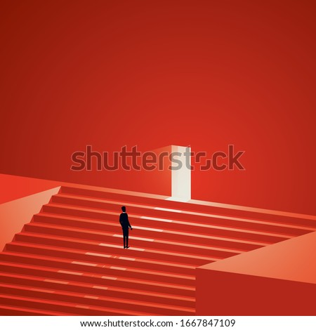 Business career growth vector concept. Symbol of promotion, new opportunity and challenge. Businessman or entrepreneur walking up stairs to door. Minimal art style. Eps10 illustration.