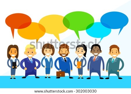 Business Cartoon People Group Talking Discussing Chat Communication Social Network Flat Icon Vector Illustration