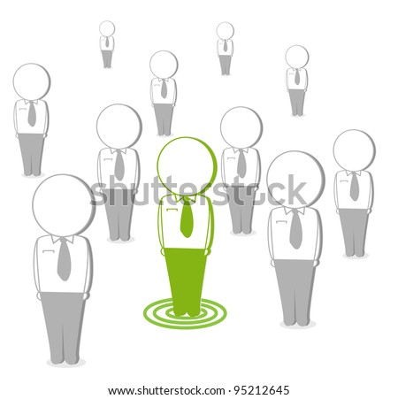 business cartoons, green with white isolated network